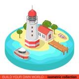 Flat 3d isometric lighthouse island marine boat building sea Royalty Free Stock Photography
