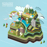 Flat 3d isometric lovely island landscape Stock Photos