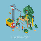 Flat 3d isometric making money $ web infographic concept stock illustration