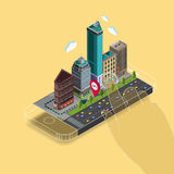 Flat 3d isometric map on mobile GPS navigation. Flat 3d isometric map on mobile, GPS navigation app infographic concept. Flat landscape street location isometric Stock Photos
