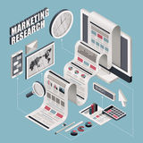 Flat 3d isometric marketing research illustration. Over blue background Stock Images