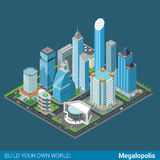Flat 3d isometric megalopolis building street: skyscrapers mall Stock Photos
