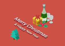 Flat 3d isometric Merry Christmas Happy New Year web infographic. Flat 3d isometric Merry Christmas and Happy New Year web infographic concept vector. Bottle of Royalty Free Stock Photos