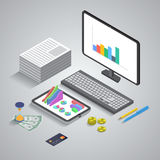 Flat 3d isometric mobile application, business Stock Photos
