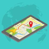 Flat 3d isometric mobile GPS navigation maps. Infographic concept vector. Tablet with digital satellite map Stock Images