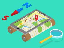 Flat 3d isometric mobile GPS navigation maps. Infographic concept vector. Tablet with digital satellite map, magnifier and north-south Stock Photography