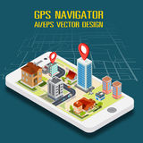 Flat 3d isometric mobile GPS navigation maps. Search magnifier glass, world silhouette pin Stock Photo