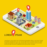 Flat 3d isometric mobile GPS navigation maps. Search magnifier glass, world silhouette pin Royalty Free Stock Images