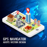 Flat 3d isometric mobile GPS navigation maps. Vector.  search magnifier glass, world silhouette pin Stock Photo