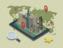 Flat 3d isometric mobile navigation illustration Stock Photo