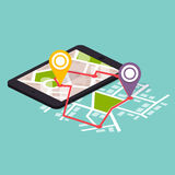 Flat 3d isometric mobile navigation maps infographic. Paper map. With marker. Flat design modern vector illustration concept Royalty Free Stock Photography