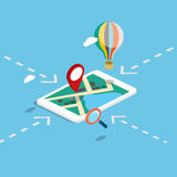 Flat 3d isometric mobile navigation maps infographic. Royalty Free Stock Images