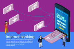 Flat 3d isometric mobile online payment concept web infographics. Internet banking vector banner. Modern mobile smartphone with credit card Stock Images