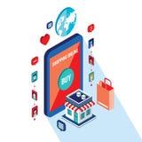 Flat 3d isometric modern design Online shopping and e-commerce concept. Flat 3d isometric modern design Mobile payment Online shopping and e-commerce concept stock illustration