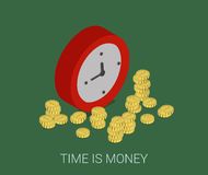 Flat 3d isometric modern time is money web infographic concept Royalty Free Stock Photo