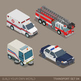 Flat 3d isometric municipal emergency road transport icon set. Flat 3d isometric high quality city municipal emergency road transport icon set. Ambulance fire Stock Photography