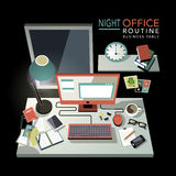 Flat 3d isometric night office routine illustration Stock Images