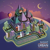 Flat 3d isometric night urban landscape illustration. Over purple background Stock Images