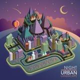 Flat 3d isometric night urban landscape illustration Stock Images