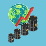 Isometric oil barrel and rising graph with world. Flat 3d isometric oil barrel and rising graph with world. Increasing of oil price and petroleum industry royalty free illustration