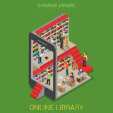Flat 3d isometric online library lib tablet e-book reading book. Flat 3d isometric online library web infographics concept. Micro people walking in lib inside stock illustration
