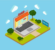Flat 3d isometric online shop shopping web infographics banner Stock Photography