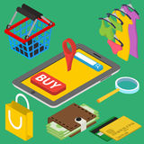Flat 3d isometric online store Stock Photo