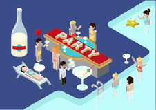 Flat 3d isometric party poll young men female woman girl. Flat party 3d isometric modern design concept  icons composition. Alcohol pool party, drinking young Stock Image