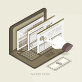 Flat 3d isometric pay per click concept illustration Royalty Free Stock Images