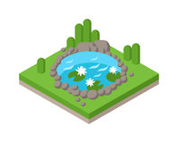 Flat 3d isometric pond outdoor vacation web infographics concept. Royalty Free Stock Photos