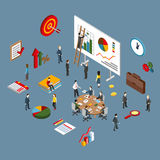 Flat 3d isometric of project management, business leadership Stock Photos