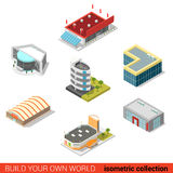 Flat 3d isometric public buildings : ice arena mall cinema. Flat 3d isometric public buildings block infographic concept. Ice hockey arena parking car dealership vector illustration