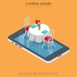 Flat 3d isometric restaurant table online reservation. Flat isometric restaurant table on smartphone vector illustration. 3d isometry online mobile reservation Stock Image