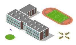 Flat 3d isometric school building, bus, stadium isolated on white. Vector illustration isolated on white. Elements of Royalty Free Stock Photo