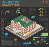 Flat 3d isometric school and city map constructor elements such Royalty Free Stock Images