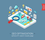 Flat 3d isometric seo optimization tablet computer template. Flat 3d isometric modern style seo optimization tablet computer interface window objects template Stock Photography