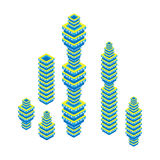 Flat 3d isometric set of skyscraper. business center. Isolated on white background. For games, icons, maps Royalty Free Stock Photo