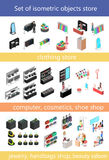 Flat 3d isometric shopping mall concept . set of elements for shopping center Stock Photos