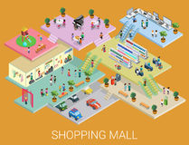 Flat 3d isometric shopping mall concept vector. City shopping center, boutique gallery indoor interior floors with walking shoppers. Sale, entertainment, multi vector illustration
