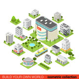 Flat 3d isometric shopping mall restaurant vector infographic. Flat 3d isometric city building block  shopping mall small restaurant shop dormitory area sleeping Royalty Free Stock Image