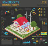 Flat 3d isometric smart home and city map constructor elements s Royalty Free Stock Photos