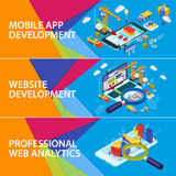 Flat 3d isometric smartphone and laptop. Set banners. Mobile app development. Website development. Infographics and SEO analytics Futuristic virtual graphic royalty free illustration