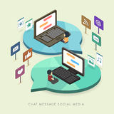 Flat 3d isometric social media concept illustration Stock Photography