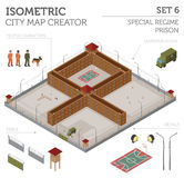 Flat 3d isometric special regime prison, jail for city map const Stock Photography
