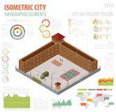 Flat 3d isometric special regime prison, jail for city map const Royalty Free Stock Photography
