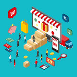 Flat 3d isometric style design concepts for e-commerce, e-shopping. Internet sale, online store, web infographic. Concepts for web banner and printed materials Stock Photo