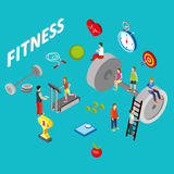 Flat 3d isometric style fitness web infographics concept Stock Image