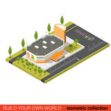 Flat 3d isometric supermarket mall sale building infographic Royalty Free Stock Photos