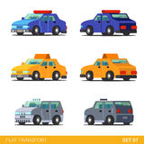 Flat 3d isometric transport icon set: emergency service Royalty Free Stock Images