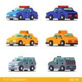 Flat 3d isometric transport icon set: emergency service Royalty Free Stock Images